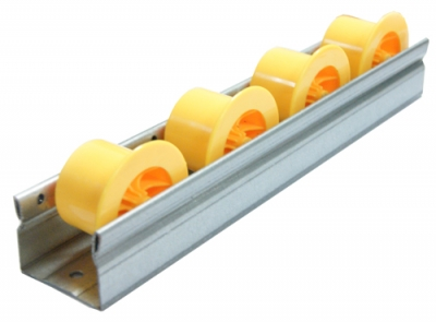 Roller rails with flange, yellow, steel profile