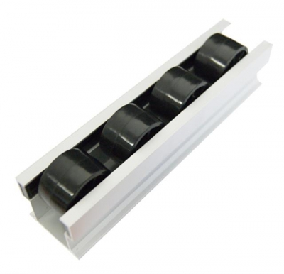 Roller rails, black, aluminium profile